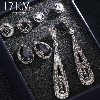 4a921cca1802 9 diseño Vintage agua gota cristal pendientes Set para mujer negro piedra  plata Color geométrico ronda