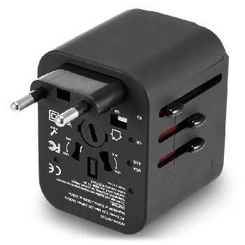 Worldwide Multifunctional International Plug Travel Charger Adapter 4 USB 3.5A Output - Black