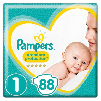 Pampers - New Baby - Couches Taille 1 (2-5 kg) - Lot de 2 Packs x44 (x88 couches)