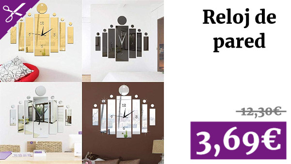 Suidone Reloj de Pared Pegatina, DIY Mute Quartz Mirror Reloj de Pared Pegatina Home Hotel Decorativo
