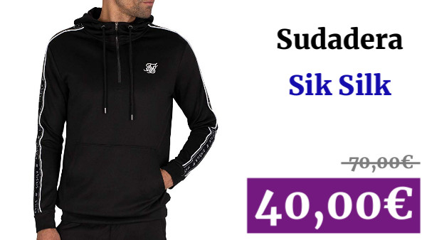 Sik Silk SS-15425 Quarter-Zip Tape Panel Hood Top