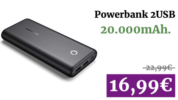 Powerbank 20.000mAh. 2USB