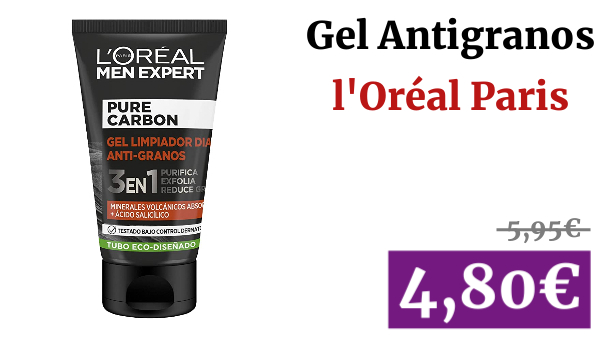 l'Oréal Paris Men Expert Pure Carbon Gel Antigranos, 100 Mililitros