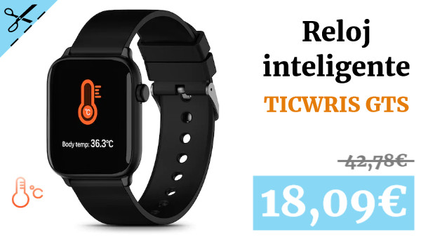TICWRIS GTS Real-time Body Temperature Watch Heart Rate Monitor 7 Sports Modes Sports Smartwatch with Temp Sensor Bluetooth 4.0