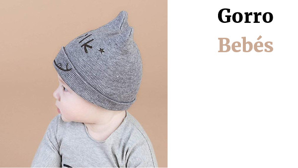 Formulaone Baby Children's Caps Baby Cotton Hats Boys Girls Double-Angle Spring and Autumn Hats Milk Lovely Ox Horn Cap Knitting Baby Hat - Gray