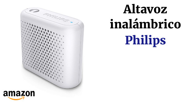Philips BT55W - Mini Altavoz Bluetooth inalámbrico portatil, Compatible con Smartphones, iPhone, Android y Tablet, Blanco