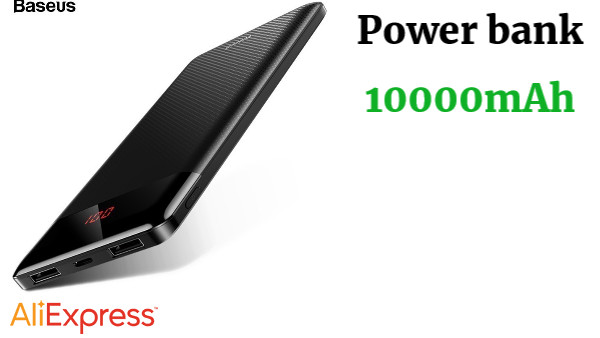 Baseus power bank 10000 mAh bateria externa cargador portatil For iPhone Xiaomi Powerbank Dual USB LCD ultra delgado banco de energía bateria portatil para moviles