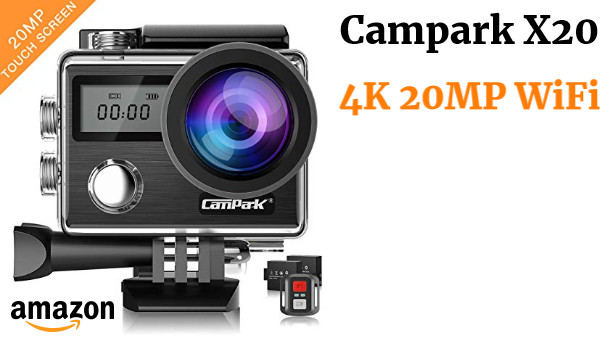 Campark X20 Cámara Deportiva 4K 20MP WiFi Cámara Acuatica de 40M