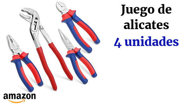 WORKPRO Juego de Alicates 4 Piezas Acero al Carbono Alicates Universal Alicates de Corte Diagonal Alicates Alicates de Punta de Aguja Alicates Extensible