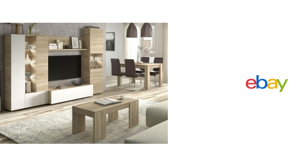 Pack mobiliario salon comedor con luz LED mueble TV mesa centro y ...