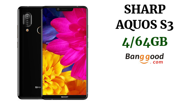 SHARP AQUOS S3 Global Version 6 Inch FHD + NFC 3200mAh 13.0MP + 12.0MP Cámaras traseras dobles 4GB 64GB Snapdragon 630 4G Smartphone - Negro