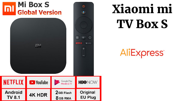 Versión Global Xiaomi mi TV Box S 4K HDR Android 8,1 2G 8G WIFI BT 4,2 Strea mi ng Media Player Google Cast Netflix IPTV Box