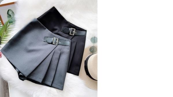 Pantalones Elegantes Para Mujer Novedad De Verano 2020 Pantalones Cortos Negros Con Bolsillos Cinturon Pantalones De Traje De Cintura Alta Para Mujer Pantalones De Corte A De Pierna Ancha Pantalones Casuales Vadegangas