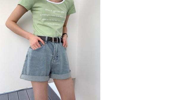 Pantalones Cortos De Jean Para Mujer Pantalones Cortos De Cintura De Algodon Pantalones Cortos Sueltos Informales Para Mujer Pantalones Cortos De Verano Para Mujer Pantalones Vaqueros Con Punos De Cintura Alta