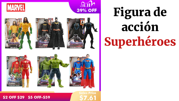 Figuras de Los vengadores de Marvel de Venom, Batman, Flash, Superman, Spiderman, Thanos, Hulk, Iron Man, Thor, modelo de acción para chico, regalos de 12 ''/30cm