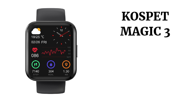KOSPET MAGIC 3 1.71 inch 3D Curved Full Touch Screen Smartwatch 20 Sports Modes Real Blood Oxygen Test IP68 Waterproof Bluetooth 5.0